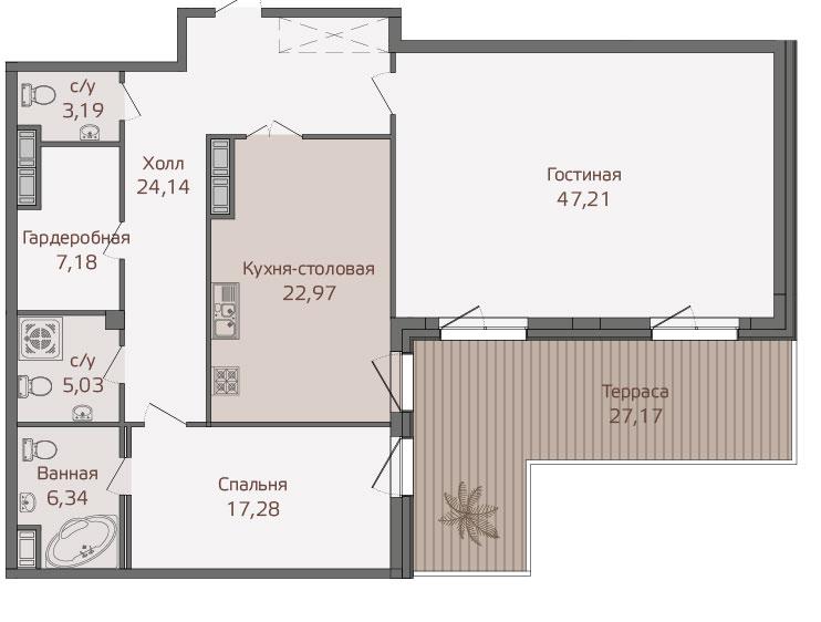 Планировка Двухкомнатная квартира площадью 139.9 кв.м в ЖК «Привилегия»