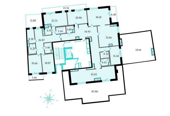 Планировка Восьмикомнатные квартиры площадью 396.8 кв.м в ЖК «Привилегия»