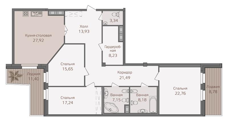 Планировка Трёхкомнатная квартира площадью 150.6 кв.м в ЖК «Привилегия»
