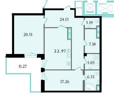 Планировка Двухкомнатная квартира площадью 108.6 кв.м в ЖК «Привилегия»