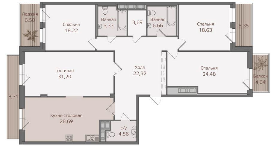 Планировка Четырёхкомнатная квартира площадью 178.6 кв.м в ЖК «Привилегия»