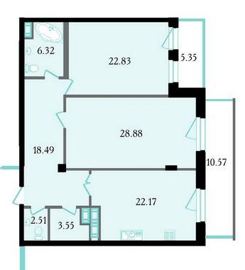 Планировка Двухкомнатная квартира площадью 107.7 кв.м в ЖК «Привилегия»