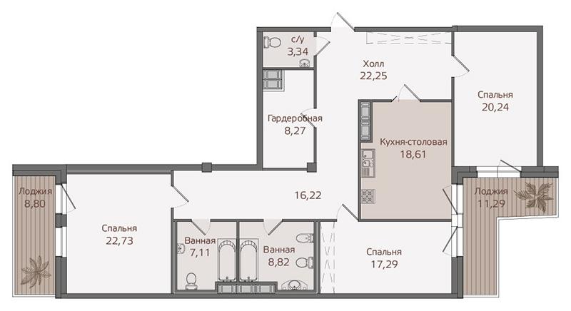 Планировка Трёхкомнатная квартира площадью 150.7 кв.м в ЖК «Привилегия»
