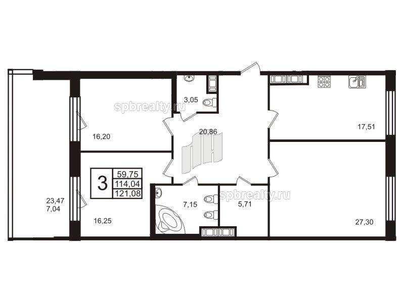Планировка Трёхкомнатная квартира площадью 117.3 кв.м в ЖК «Привилегия»