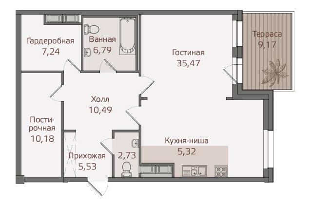 Планировка Однокомнатная квартира площадью 86.3 кв.м в ЖК «Привилегия»