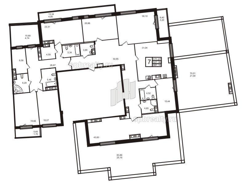 Планировка Семикомнатная квартира площадью 396.8 кв.м в ЖК «Привилегия»
