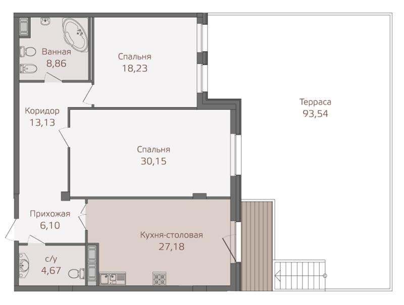 Планировка Двухкомнатная квартира площадью 131.5 кв.м в ЖК «Привилегия»