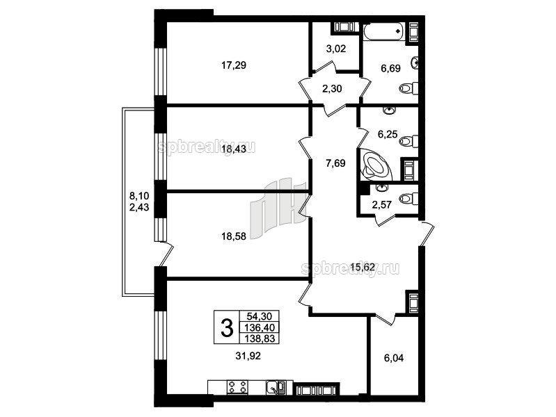 Планировка Трёхкомнатная квартира площадью 135.2 кв.м в ЖК «Привилегия»