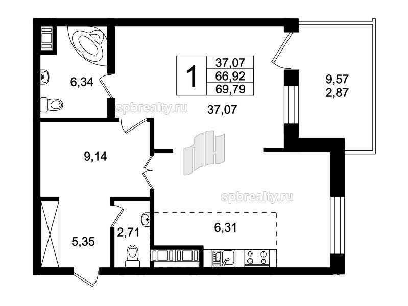 Планировка Студия площадью 69.9 кв.м в ЖК «Привилегия»