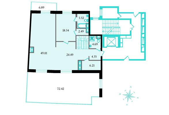 Планировка Шестикомнатные квартиры площадью 278.4 кв.м в ЖК «Привилегия»