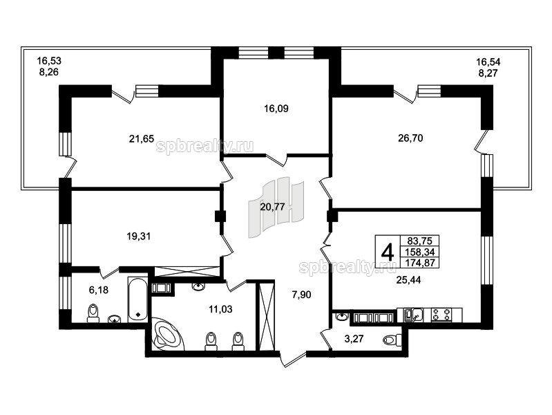 Планировка Четырёхкомнатная квартира площадью 169.7 кв.м в ЖК «Привилегия»