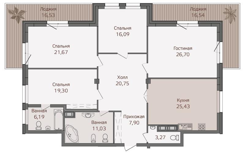 Планировка Четырёхкомнатная квартира площадью 169.6 кв.м в ЖК «Привилегия»
