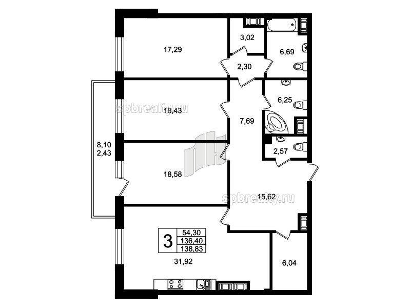 Планировка Трёхкомнатная квартира площадью 135.1 кв.м в ЖК «Привилегия»