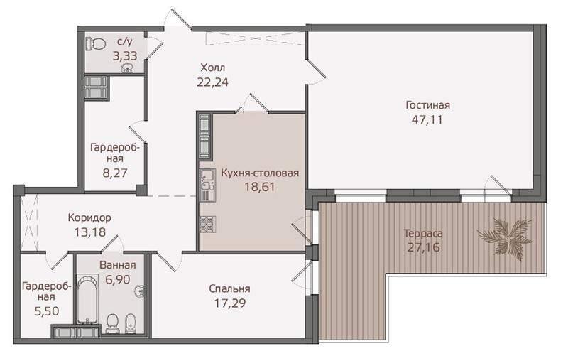 Планировка Двухкомнатная квартира площадью 149.5 кв.м в ЖК «Привилегия»