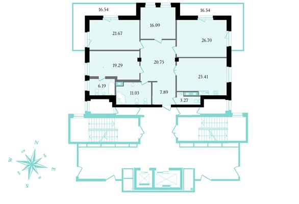 Планировка Четырёхкомнатная квартира площадью 170.3 кв.м в ЖК «Привилегия»
