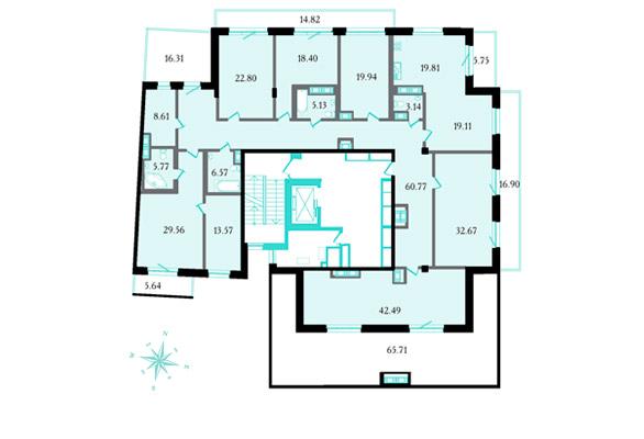 Планировка Семикомнатная квартира площадью 352.4 кв.м в ЖК «Привилегия»