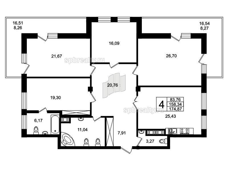 Планировка Четырёхкомнатная квартира площадью 170.2 кв.м в ЖК «Привилегия»