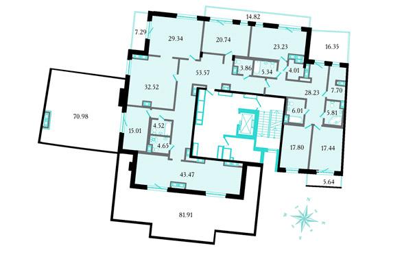 Планировка Семикомнатная квартира площадью 398.1 кв.м в ЖК «Привилегия»