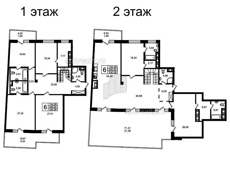 Планировка Шестикомнатные квартиры площадью 320.92 кв.м в ЖК «Привилегия»