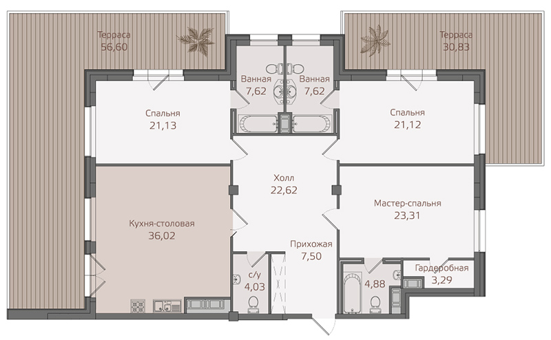 Планировка Трёхкомнатная квартира площадью 184.1 кв.м в ЖК «Привилегия»